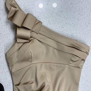 Worn 1x! Cache sz 8 gold satin 1 shoulder dress